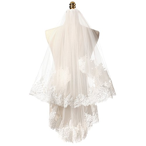 KAY&LAYLA 2 layers Lace Embroidered Edge Bridal Wedding Veil Elbow Length Ivory Color (2 Layer Elbow)