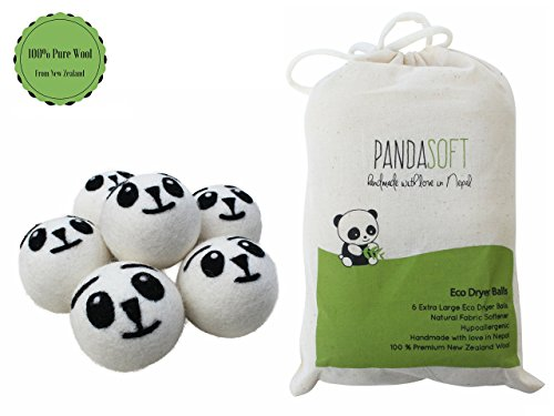 Highest Quality Organic Wool Dryer Balls, 6 Pack, Needle Felted Panda Face, 100 % Handmade in Nepal, Best Reusable Natural Fabric Softener