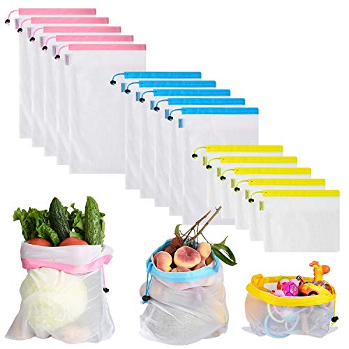 Set of 15 Reusable Produce Bags, Mesh Shopping Bag for Grocery & Storage, with Bright Tare Weight on Tags, Double-Stitched Strength, Machine& Hand Washable, Eco-Friendly (Blue, Pink,Yellow) from MIUVA