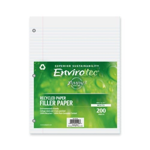 (Recycled 20-lb. Filler Paper, 11 x 8-1/2, White, College Ruled, 200 Sheets, Sold as 200 Sheet )