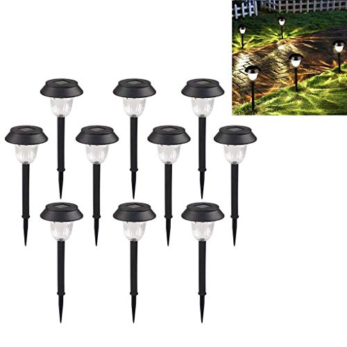 10 Pack Solar Lights Outdoor Pathway Decorative Garden Stake Light, Super-Bright 15 Lumens, LED Walkway Lamp for Patio Outside Landscape Driveway Path Yard