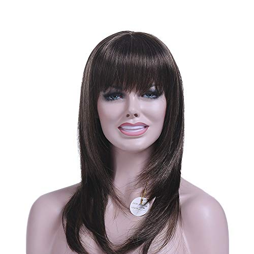 XPRETTY WIGS Black Long Straight Wig with Bangs Layered Natural Synthetic Hair Wigs  for Women Daily Use Party