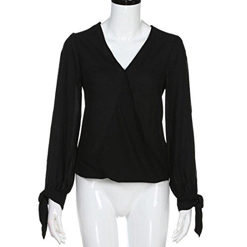 Top Papillon Noir Chemisier V Manches Angelof Ado Femme Noeud Asymétrique Blouse Chic Col shirt Fille T T14v4Znq