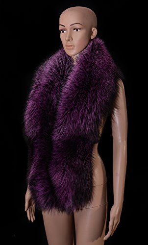Royal Saga Furs Purple Silver Fox Fur Handmade Boa Stole Shawl Wrap by Your Furrier