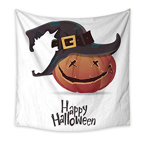 (Anniutwo Tapestry Kids Halloween Pumpkin Carving in Black Witch hat Cartoon Vector Blanket Home Room Wall Decor 47W x 47L)