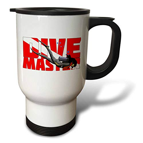 Stainless Steel Scuba Master (3dRose MacDonald Creative Studios – Scuba - Woman Scuba Dive Master in the colors of a dive flag. - 14oz Stainless Steel Travel Mug (tm_295540_1))