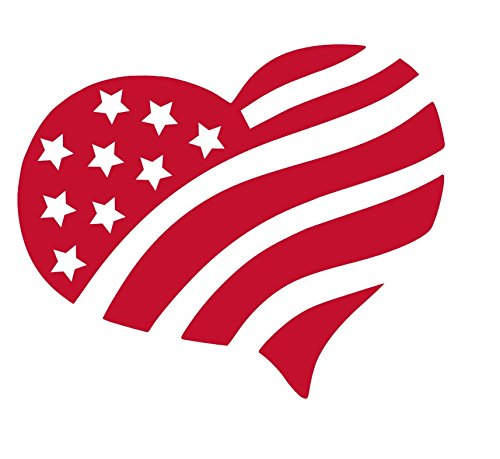 - HEART WITH AMERICA FLAG Vinyl Sticker Decals for Car bumper window macbook pro laptop iPad iPhone (7