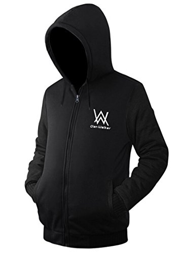 Nedal Cotton Fleece Alal Walker Sweatshirt Black Hoodie Coat Full Zip Jacket,M
