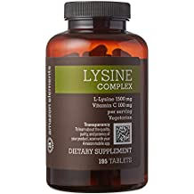 Amazon Brand - Amazon Elements Lysine Complex 1500mg with Vitamin C, Vegetarian, 195 Tablets, 2 month supply
