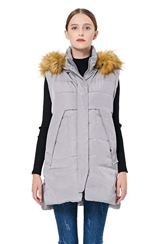Orolay Women's Winter Long Down Vest with Faux Fur Trimmed Hood Casual Zip up Grey XXL