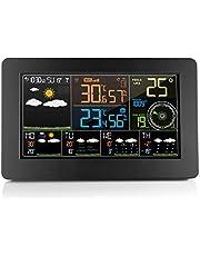 Digitaal weerstation - multifunctionele klok, wifi-netwerk voor tijd/datum/weer, buitensensor voor luchtdruk/temperatuur/vochtigheid/binnencomfort