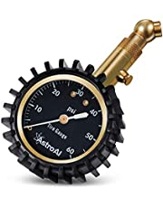 """AstroAI Tire Pressure Gauge 60 PSI, Heavy Duty Tire Gauge with Large 2"""" Easy Read Glow Dial and Solid Brass Construction, ANSI B40.1 Certified, Professional Mechanical Tire Gauge for Motorcycles, Cars, Trucks, Bicycle, Gift for Men"""