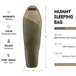 WINNER OUTFITTERS Mummy Sleeping Bag with Compression Sack, It's Portable and Lightweight for 3-4 Season Camping, Hiking, Traveling, Backpacking and Outdoor Activities(Olive Green,4.5lbs)