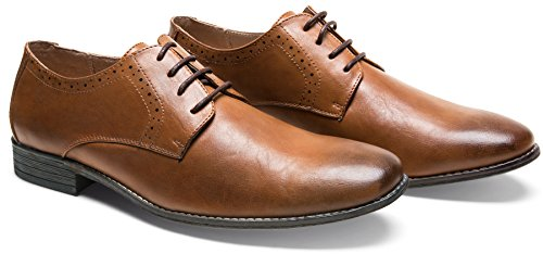JOUSEN Men's Oxford Shoes Classic Dress Shoes (10.5,Brown)