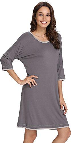 NEIWAI Women's Nightshirt Bamboo Sleepwear 3/4 Sleeve Sleep Shirt Dark Grey S ()