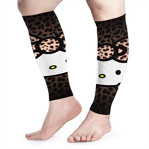 HYHACZX Leopard Hello Kitty Calf Compression Sleeve (sequential Compression, Unisex Ergonomics) (Ideal for Sports, Work, Flight, Pregnancy) Ect-Support Sore Muscles & Joints, 1 Pair
