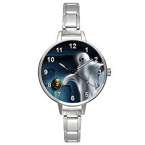 BMTC013 Halloween Ghost Stainless Steel Italian Charm Bracelet Mens Ladies Watch