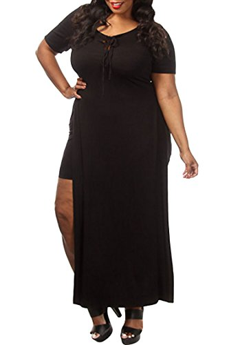 Pink-QueenWomens-Sexy-Side-Slit-Casual-Bandage-Club-Maxi-Dress-Plus-Size