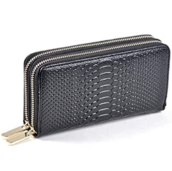 Omazing Black Leather For Women - Zip Around Wallets