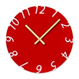 Cocal Modern Fashion Acrylic Removable Wall Clocks DIY Acrylic Decorative Clock, Battery Operated (Red)