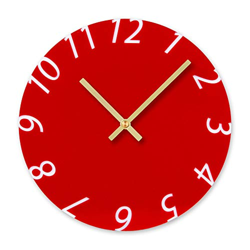 Cocal Modern Fashion Acrylic Removable Wall Clocks DIY Acrylic Decorative Clock, Battery Operated (Red) by Cocal