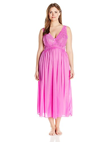 Shadowline Women's Plus Size Silhouette 53 Sleeveless Long Gown, Flamingo Pink, 2X