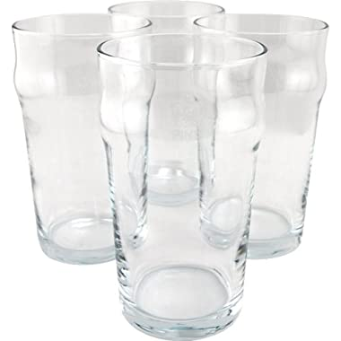 KegWorks British Pub Style Imperial Pint Glass with Etched Seal - Set of 4 - Gift Boxed