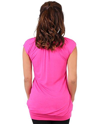 KRISP - Camiseta - Básico - cuello en V - Manga corta - para mujer Cereza