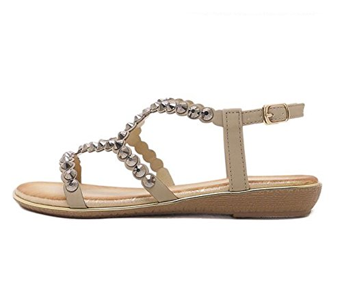 Comfortable Tree Flats Size amp;Sea Sandals Rhinestones Girl Glitzy Women Sandals Large Gold 0xwO0qaHr