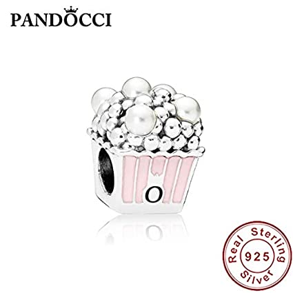 1c58f2efb Image Unavailable. Image not available for. Color: Ochoos Pan 925 Sterling  Silver Delicious Popcorn Charm ...