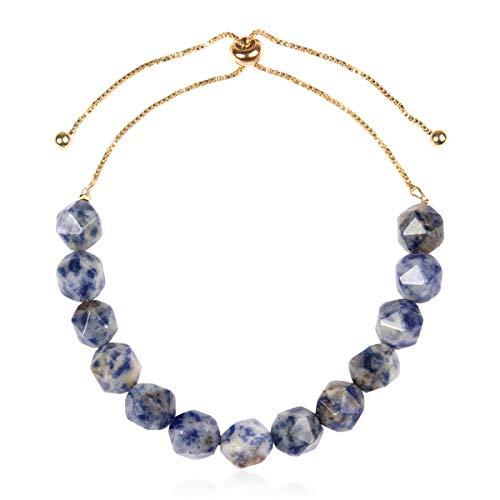 Natural Stone Stretch Prayer Bolo Bracelet - Semi Precious Healing Gemstone Chakra Beaded Friendship Slide Adjustable Cuff Bangle Faceted Jewel (Faceted Jewel Bolo Bracelet - Blue Sodalite)