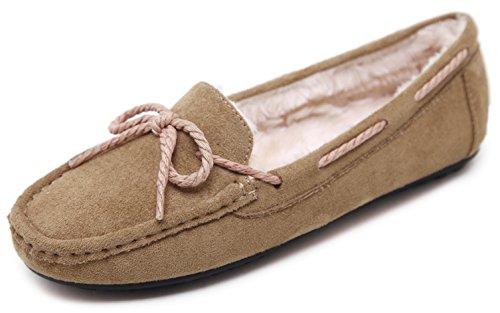 DolphinBanana DolphinGirl Womens Plush Flat Shoes Fall Winter Wear Camel