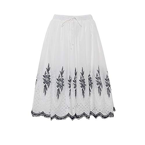 Love Welove Fashion Women's A-line Flared Embroidered Below Knee Length with Lining midi Skirt (M, White with Blue Embroidery) ()