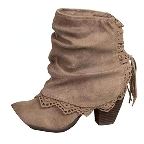 Autumn Winter Women Boots Casual Martin Boots Suede Round Head Ankle Boots High Heeled Tassel Lace,Apricot,5