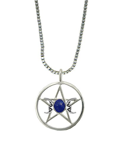 Sterling Silver Pentacle Two Moons Pendant with Lapis Lazuli