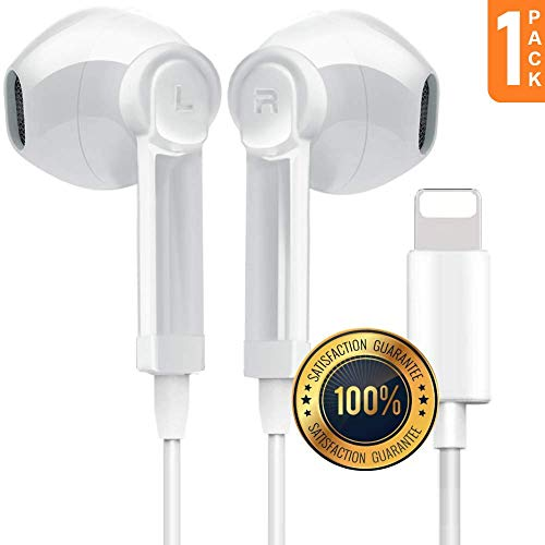 CableCord Headphones/Earbuds Compatible with Phone 7,7 Plus,8,8 Plus,iPhone X, Stereo Sound by Bluetooth in Ear Buds Mic and Volume Control, Wired Charging Bluetooth Without Battery (1-Pack)