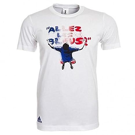 adidas Camiseta de Manga Corta Para Hombre, Diseño de Equipo de Fútbol de Francia Para Niño, Hombre, Color Blanco, Tamaño M: Amazon.es: Ropa y accesorios