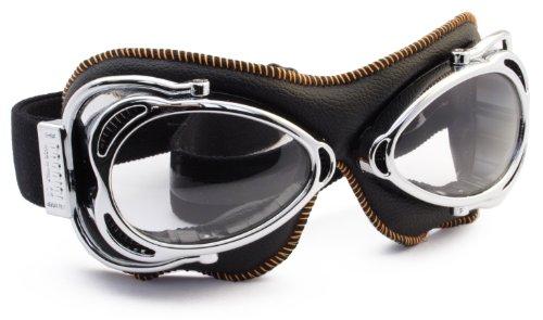 Nannini Sewing Grey Anti-Fog Streetfighter Motor Goggles (Shiny/Black Orange) by Nannini