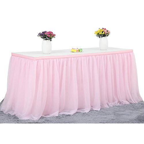 Baby Shower Table Cover - Haperlare 14ft Tablecloth Pink Tulle Table Skirt Queen Snowflake Wonderland Tulle Pink Tablecloth Tutu Tablecloth Skirting for Wedding Party Baby Shower Christmas Birthday Banquet Table Decorations