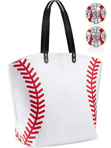 Baseball Tote Bags for Women Large Oversize baseball bag tote Canvas Bag with Baseball Earrings