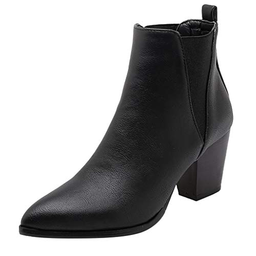 ONLY TOP Women's Wide Width Ankle Booties - Classic Low Stacked Heel Round Toe Suede Comfy Boots Black (Dolly Tom Shoes)