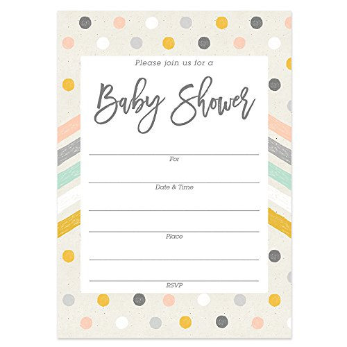Chevron Baby Shower Invitations with Envelopes (Pack of 25) Fill in Adorable Gender Reveal Neutral Sip and See Excellent Value Invites by Digibuddha VI0060B