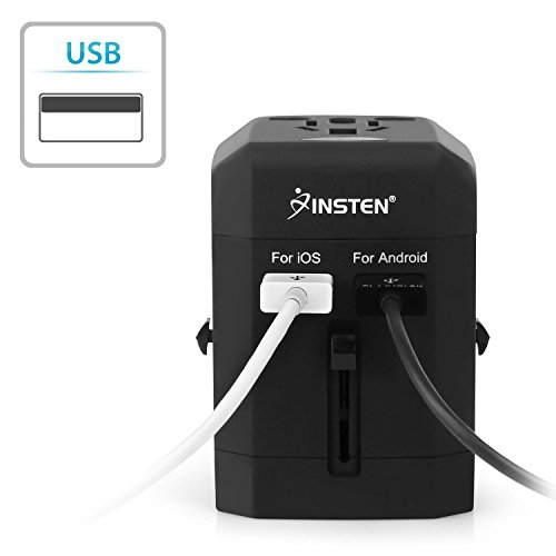 Insten Universal Worldwide Travel Adapter Wall Charger Power Plug AC Adapter with Dual USB Charging Ports for US/EU/UK/AU International Cellphone Laptop, Black by INSTEN (Image #3)