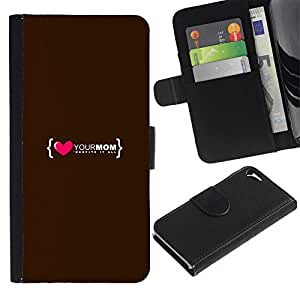 """Apple iPhone 5 / iPhone 5S , la tarjeta de Crédito Slots PU Funda de cuero Monedero caso cubierta de piel ("""" Love Heart Mom Mother Family Quote"""")"""