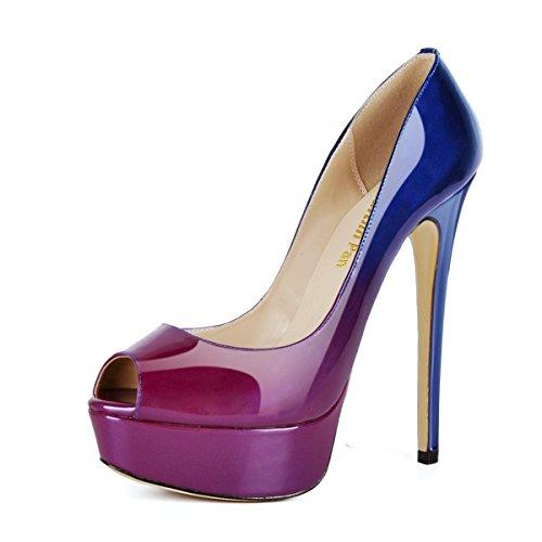 Caitlin Alti Blue Sandali Pan Toe On Tacchi Tacco Pompe R0ss0 Donna Festa Stiletti Scarpe Peep Piattaforma Fondo Dress Slip purple col rwr7Tnt1q