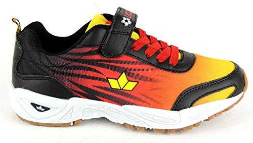 Lico - Zapatillas para deportes de interior para niño Multicolor multicolor Negro - Schwarz/Rot/Gold