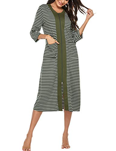 Ekouaer Zipper Front Housecoat Short Sleeve & Half Sleeve Zip Nightgown Long Houedress with Pockets