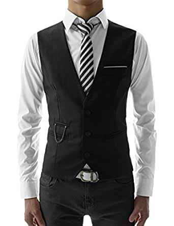 SVE TheLees Mens slim fit chain point 3 button vest BLACK US XS(Tag size M)