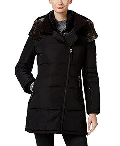 Calvin Klein Faux-Fur-Trim Asymmetrical Water-Resistant Puffer Coat