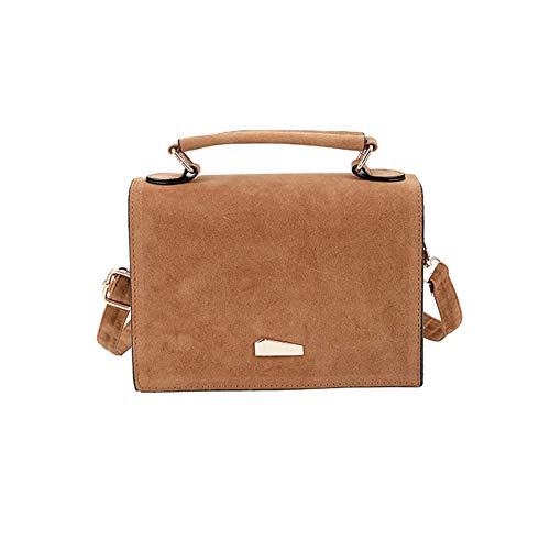 (Aland Simple Solid Color Flip Cover Women Casual Shoulder Crossbody Bag Handbag Pouch Fashion Lady Shoulder Bag Scrub Bag Stitching Tide Version Messenger Bag Chocolates)